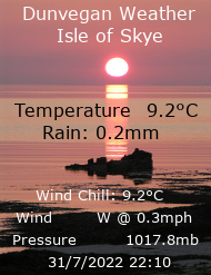 Live weather data from Dunvegan, Isle of Skye, Scotland